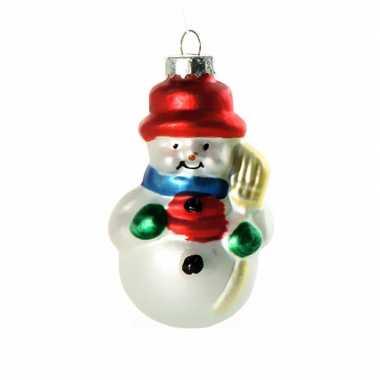 Feest kerstbal sneeuwpop 8 cm