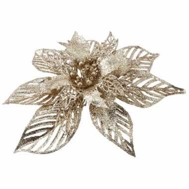 Kerstboom decoratie bloem goud 23 cm