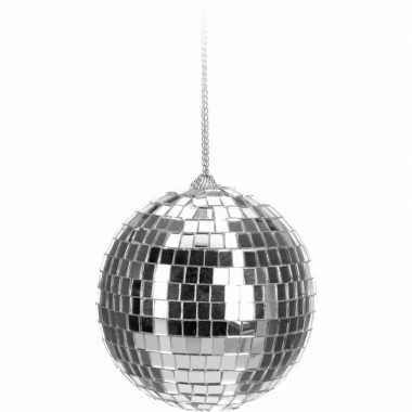 Feest kerstboom decoratie discobal zilver 6 cm