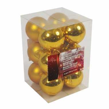 Kerstboom decoratie kerstballen goud 12x stuks 6 cm