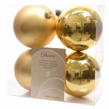 Kerstboom decoratie kerstballen mix 10 cm goud 8 stuks