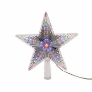 Feest kerstboom decoratie led ster piek gekleurd 22 cm