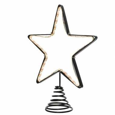 Feest kerstboom piek met led ster verlichting 22 cm