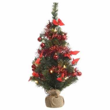 Kerstboompje groen/rood met verlichting 60 cm