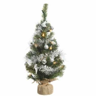Kerstboompje groen/zilver 60 cm met verlichting