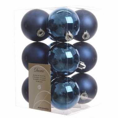 Kerstboomversiering blauw ballen 6 cm