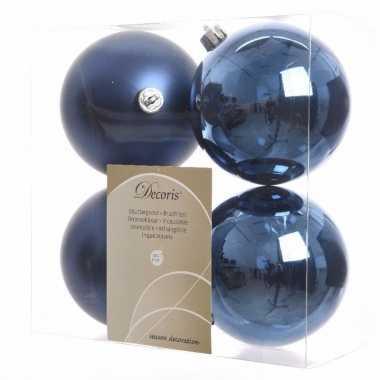 Kerstboomversiering blauwe ballen 10 cm