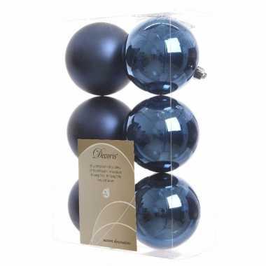 Kerstboomversiering blauwe ballen 8 cm