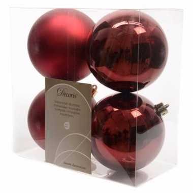 Kerstboomversiering donker rode ballen 10 cm