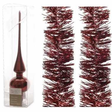 Kerstboomversiering set donkerrode piek en 2x folieslingers 270