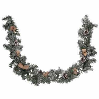 Feest kerstguirlande met blaadjes 180 cm