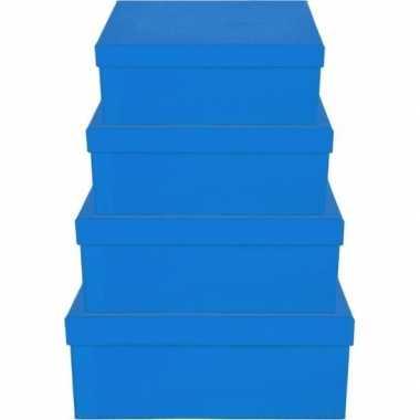 Kerstversiering kadodoosje/cadeaudoosje blauw 8 cm