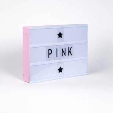 Feest kinderkamer lichtbak lamp a4 roze