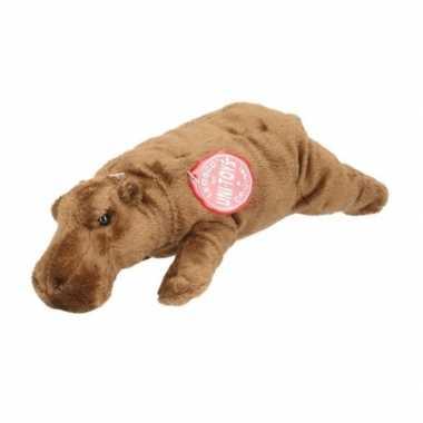 Feest knuffeldieren bruine nijlpaard 25 cm