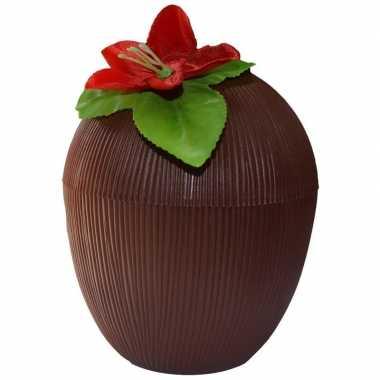 Kokosnoot drinkbeker hawaii 12 x 10 cm 250 ml