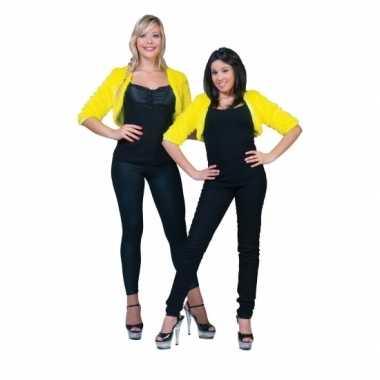 Feest kort geel pluche jasje voor dames