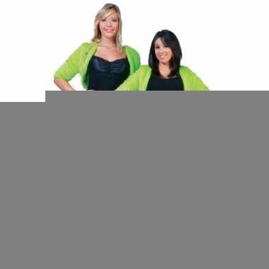 Feest kort groen pluche jasje voor dames