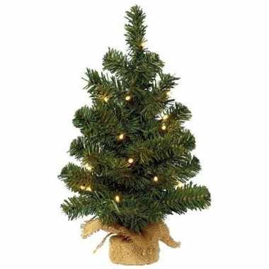 Kunst kerstboom groen met warm witte verlichting 45 cm