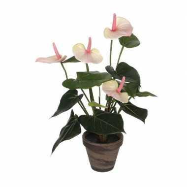 Kunstplant anthurium licht roze in grijze pot 40 cm
