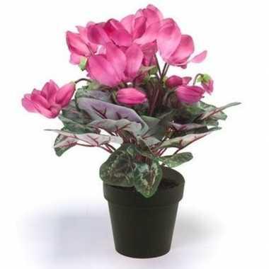 Feest kunstplant cyclaam roze in zwarte pot 30 cm