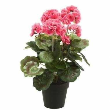 Feest kunstplant geranium roze in zwarte pot 35 cm