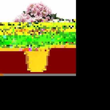 Feest kunstplant hortensia roze in oude ronde terracotta pot 37 cm