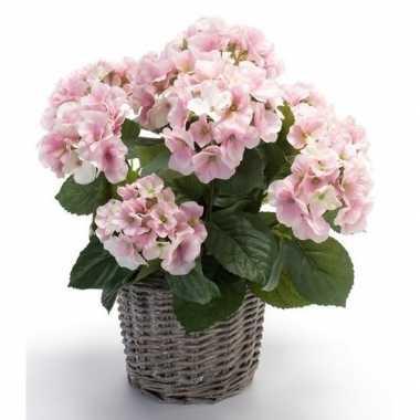 Feest kunstplant hortensia roze in rieten mand 45 cm