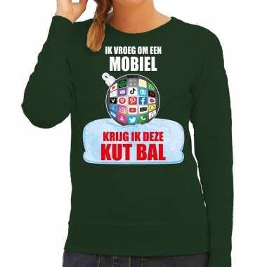 Kut kerstbal sweater / foute kersttrui ik vroeg om een mobiel krijg ik deze kut bal groen voor dames