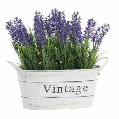 Lavendel kunstplant/kamerplant in metalen emmer wit 20 cm