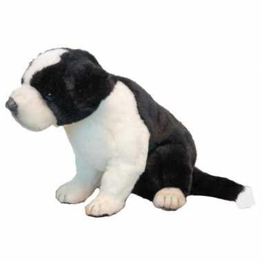 Feest levensechte hansa pluche border collie pup knuffel 25 cm