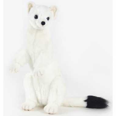 Feest levensechte hansa pluche hermelijn knuffel 30 cm