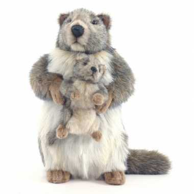 Feest levensechte hansa pluche marmot knuffel 35 cm