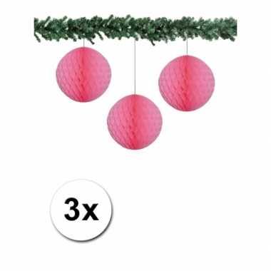 Feest lichtroze kerstversiering ballen van papier 10 cm 3 stuks