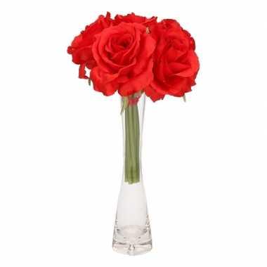 Feest luxe boeket rode rozen met glazen vaasje 20 cm