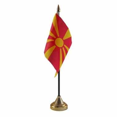 Feest macedonie tafelvlaggetje 10 x 15 cm met standaard