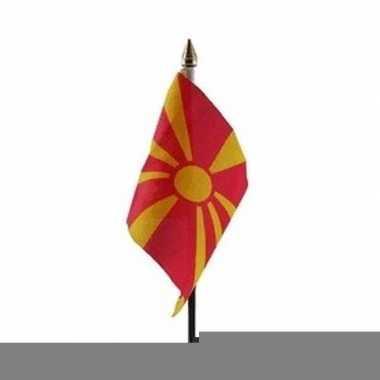 Feest macedonie vlaggetje met stokje