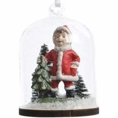 Feest meisje in kerstman pak in sneeuwbol kerstversiering hangdecorati