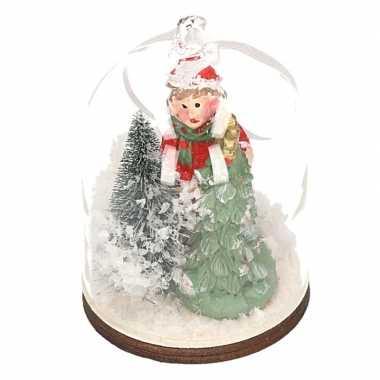 Feest meisje met boom in sneeuwbol kerstversiering hangdecoratie 8 cm
