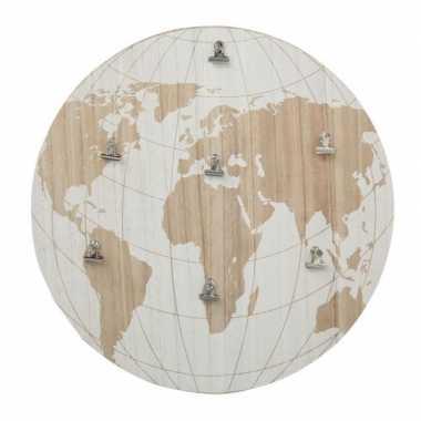 Feest memobord wereldbol aarde hout 40 cm