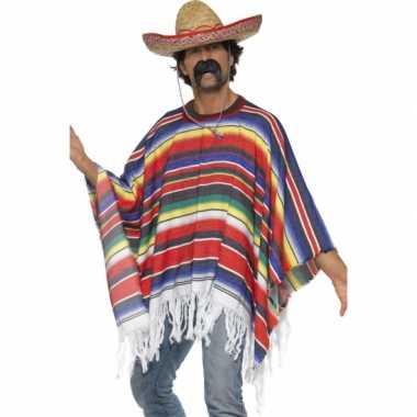 Feest mexicaanse poncho voor volwassenen
