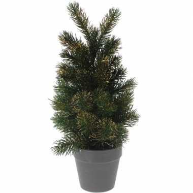 Mini kunst kerstboom 29 cm groen/goud