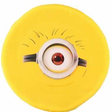 Feest minions schuim frisbee geel een oog 42 cm