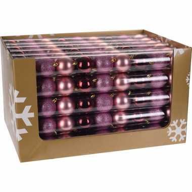 Feest mix kerstballen pakket roze glitter en bordeaux glans 10081379