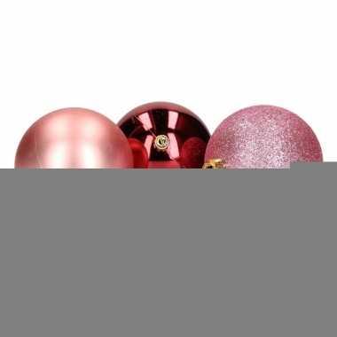 Feest mix kerstballen pakket roze glitter en bordeaux glans 10081386