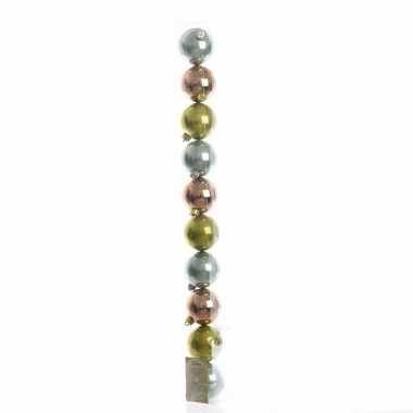Feest mix plastic kerstballen pakket groen brons glanzend