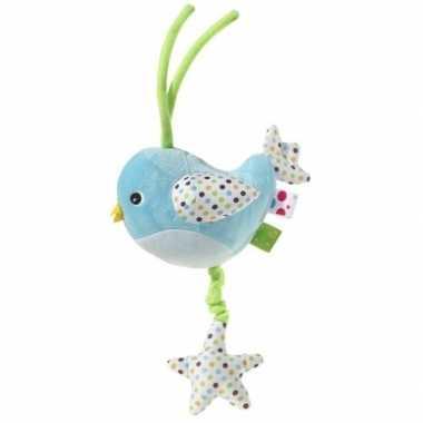 Feest muziek knuffel blauw vogel 15 cm