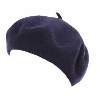 Feest navy blauwe baret voor dames