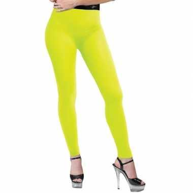 Feest neon gele legging voor dames 10131986