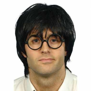 Feest nerd bril met zwarte pruik heren