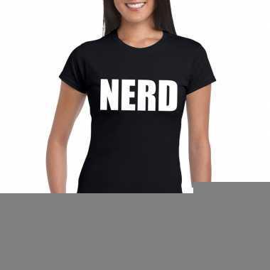 Feest nerd tekst t-shirt zwart dames